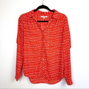 Alfred Sung Patterned Red & White Blouse